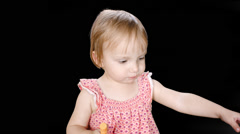 Keyed Little Cute Girl Blowing her Nose Stock Footage