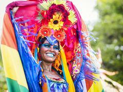 Brazilian Woman Wearing Colorful Costume at Carnaval, Rio de Janeiro, Brazil Stock Photos