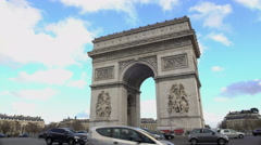 Popular tourist attraction in Paris, crowds of people viewing Triumphal Arch - stock footage