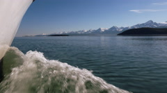 Boat Bow Splashing through Scenic Alaska Inside Passage Low Stock Footage