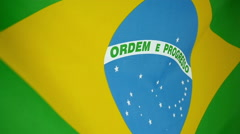 Slowmotion real textile Flag of Brasil - stock footage