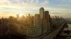 view of urban cityscape metropolis. new york city scenery background - stock footage