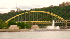 Fort Pitt Bridge Stands Behind Point State Park Fountain Stock Footage
