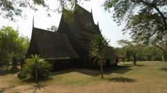 Lanna style black house in chiang mai Stock Footage