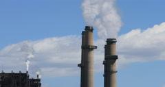 San Juan coal power stacks pollution Farmington New Mexico DCI 4K Stock Footage