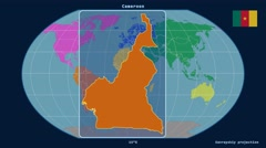 Cameroon - 3D tube zoom (Kavrayskiy VII projection). Continents - stock footage