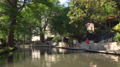 Tree Lined Section of the San Antonio, Texas River Walk Stock Footage