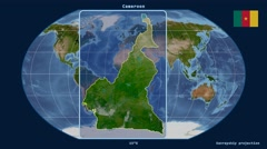 Cameroon - 3D tube zoom (Kavrayskiy VII projection). Satellite Stock Footage