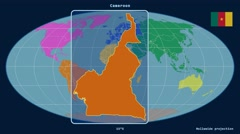 Cameroon - 3D tube zoom (Mollweide projection). Continents Stock Footage