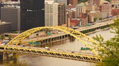 Fort Pitt Bridge Rush Hour Pittsburg Downtown City Skyline Stock Footage