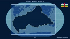 Central African Republic - 3D tube zoom (Kavrayskiy projection). Solids - stock footage