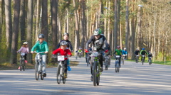 "4K UHD JURMALA, LATVIA - MAY 04, 2016: Bicycle Race. A group of cyclists at ""Fam Stock Footage"