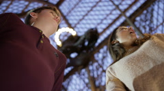 4K Mother & son in natural history museum looking at the exhibits with amazement Stock Footage