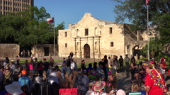 Crowd Gathers for Annual Fiesta San Antonio Celebration in Front of The Alamo - stock footage