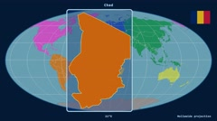 Chad - 3D tube zoom (Mollweide projection). Continents - stock footage