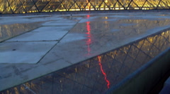 Modern glass pyramid construction near worldwide known museum, vertical pan Stock Footage