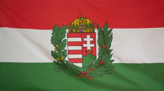 Slowmotion real textile Flag of Hungary coat of arms Stock Footage