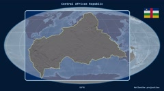 Central African Republic - 3D tube zoom (Mollweide projection) Stock Footage
