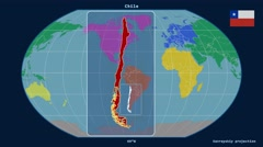 Chile - 3D tube zoom (Kavrayskiy VII projection). Continents Stock Footage