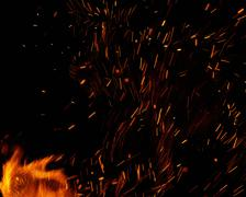 Fire flames with sparks on a white background Stock Photos