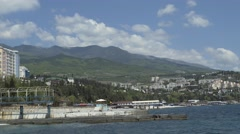 Pier On The Embankment Of The Resort Town Stock Footage