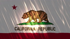 California State Loopable Flag Stock Footage