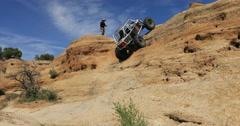 4x4 off road rock climbing dangerous rocky mountain 3 DCI 4K Stock Footage