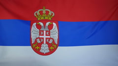 Slowmotion real textile Flag of Serbia - stock footage
