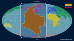 Colombia - 3D tube zoom (Mollweide projection). Continents - stock footage