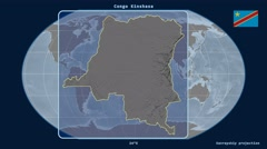 Congo Kinshasa - 3D tube zoom (Kavrayskiy VII projection). Bumps Stock Footage