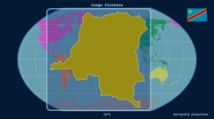 Congo Kinshasa - 3D tube zoom (Kavrayskiy VII projection). Continents Stock Footage