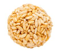 Bowl of puffed rice on a white background Stock Photos