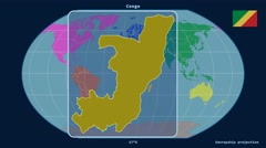 Congo - 3D tube zoom (Kavrayskiy VII projection). Continents - stock footage