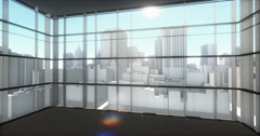 4k overlooking the abstract urban building from office window. Stock Footage
