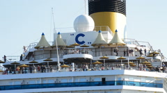Back deck on a cruise ship with passengers moving away. Stock Footage