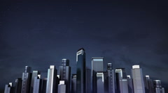 Construction building city skyline and make city in animation. nighttime 1. Stock Footage