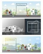 Architecture background Cityscape banner - stock illustration