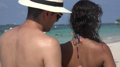 Applying Suntan Lotion Or Sunblock Stock Footage