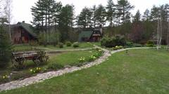 Camera movement towards beautiful mountain house. Stock Footage