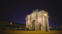 Paris guests viewing Arc de Triomphe du Carrousel, sightseeing tour to France - stock footage