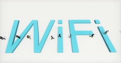 4k people walking on the top of wifi symbol,tech web sign. Stock Footage