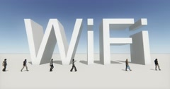 4k people walking on the front of wifi symbol,tech web sign. Stock Footage