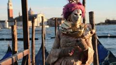 Golden Venetian Carnival Mask Stock Footage