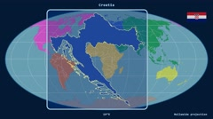 Croatia - 3D tube zoom (Mollweide projection). Continents Stock Footage