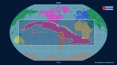 Cuba - 3D tube zoom (Kavrayskiy VII projection). Continents - stock footage