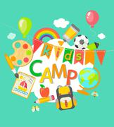 Summer Camp poster. - stock illustration