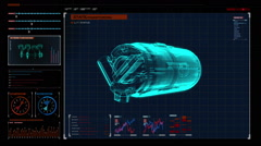 Automobile car compressor  X-ray 360 degree view in digital display panel. - stock footage