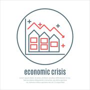 icon on a theme of economic crisis with house - stock illustration