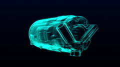 Automobile Technology. car compressor  X-ray image hold view. animation. - stock footage