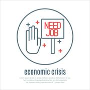 icon on a theme of economic crisis - stock illustration